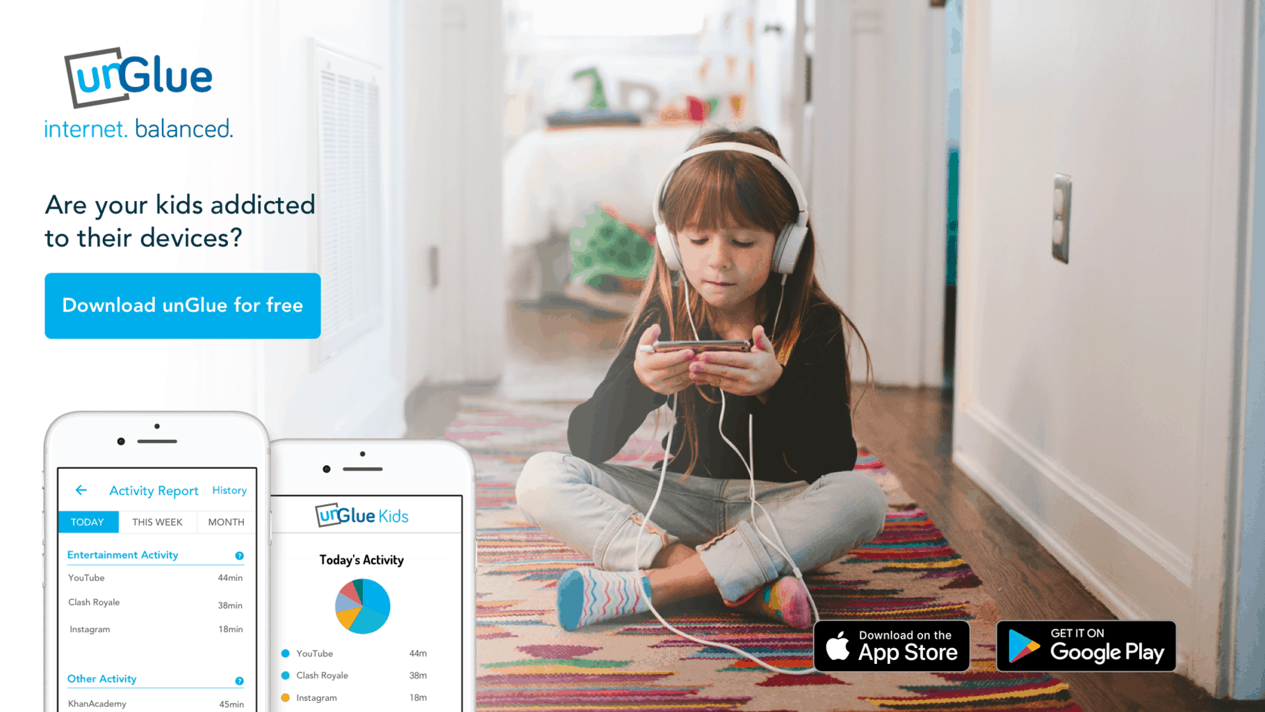 unGlue - An App to End Screen Time Battles with Your Child. And, Keep Them Safe Online!