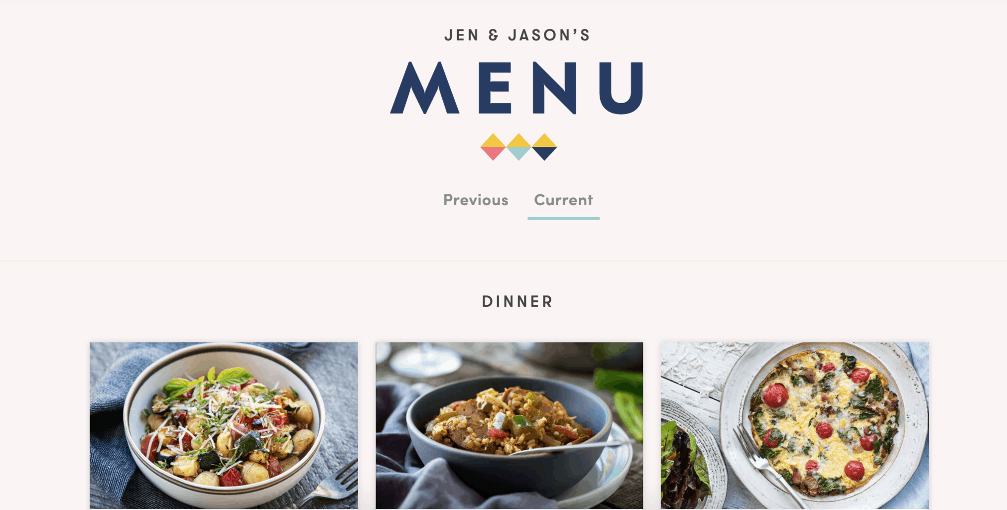 Platejoy dinner menu