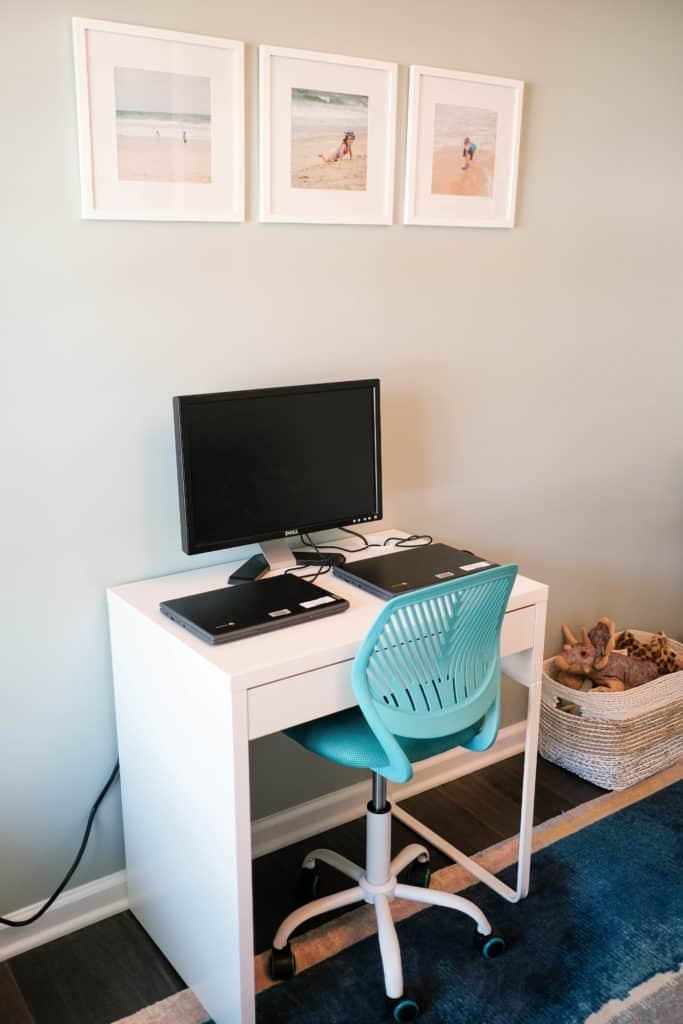 Desk for online learning space