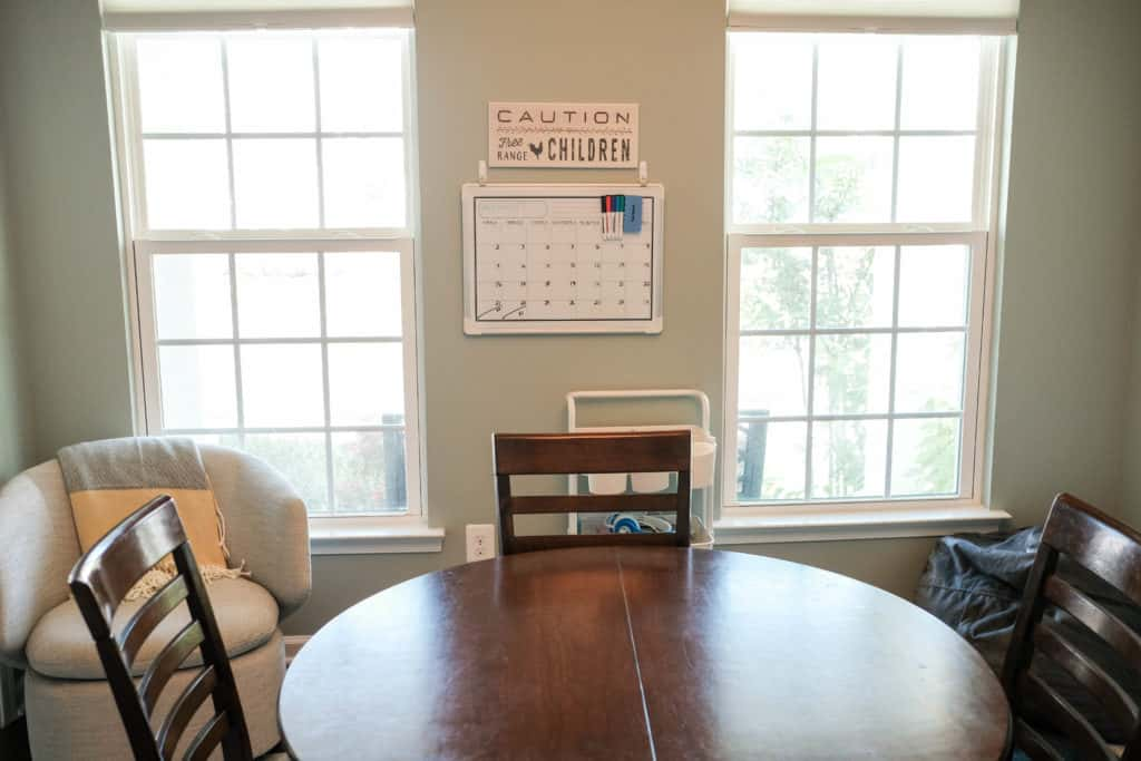 table for school work in the homeschool space