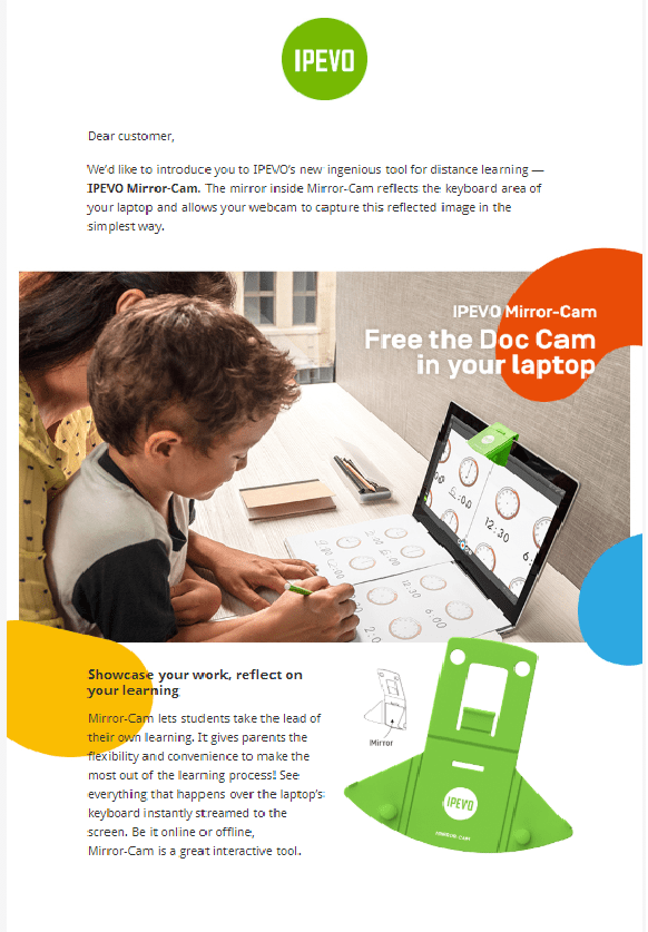 IPEVO Mirror-Cam document camera for kids and distance learning