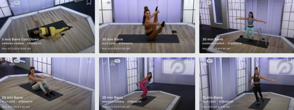 Peloton Barre Classes in the App
