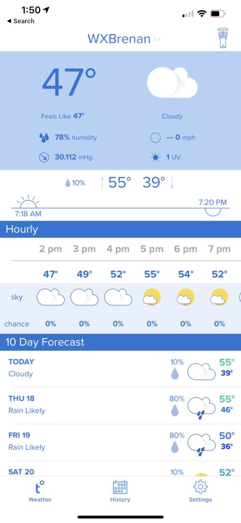 Tempest weather station app forecast